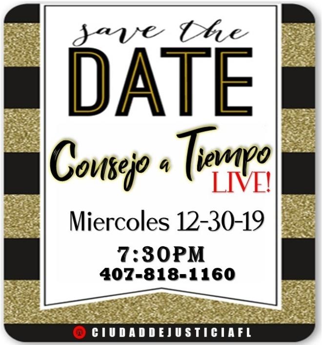 Consejo a Tiempo LIVE 12.30 SAVE DATE